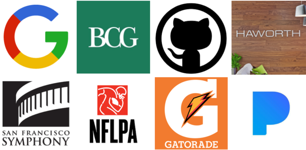 Google, Boston Consulting Group, GitHub, Haworth, San Francisco Symphony, NFL Players Association, Gatorade, Pandora
